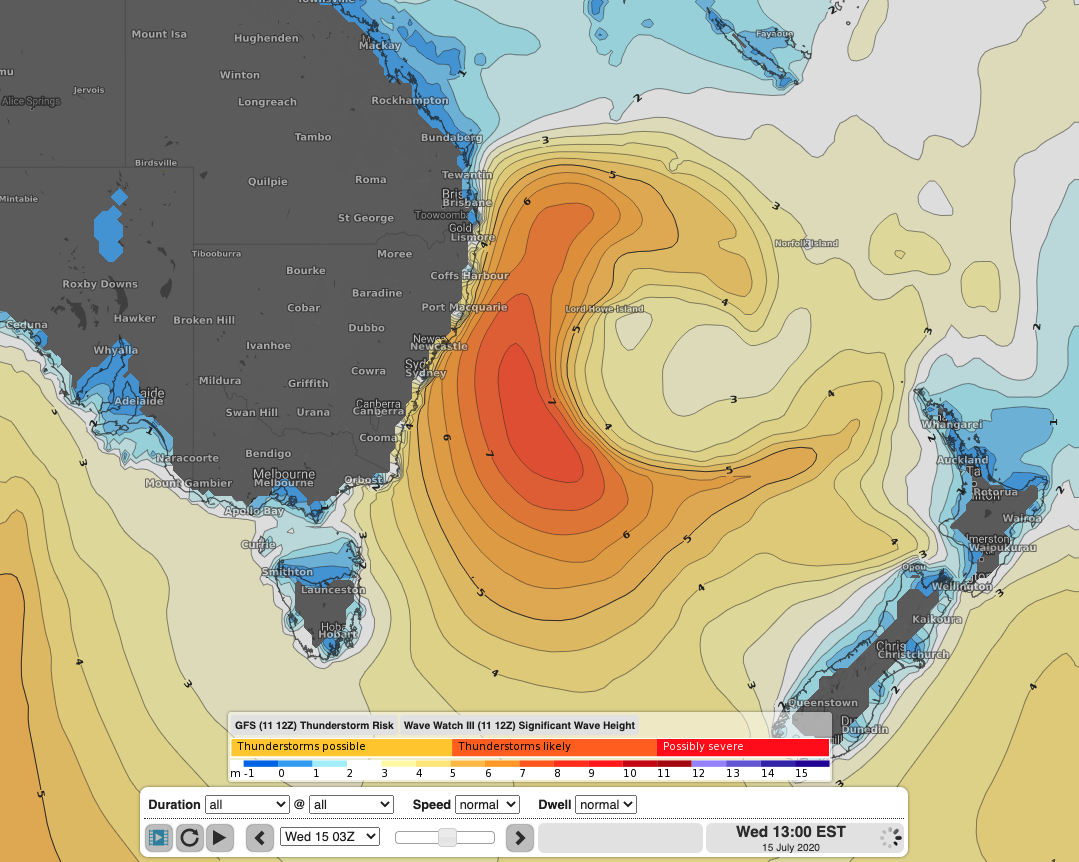 WaveWatch III model run of significant wave height showing a very large swell, reaching 8m, generated by a Tasman Low off the NSW coast on Wednesday