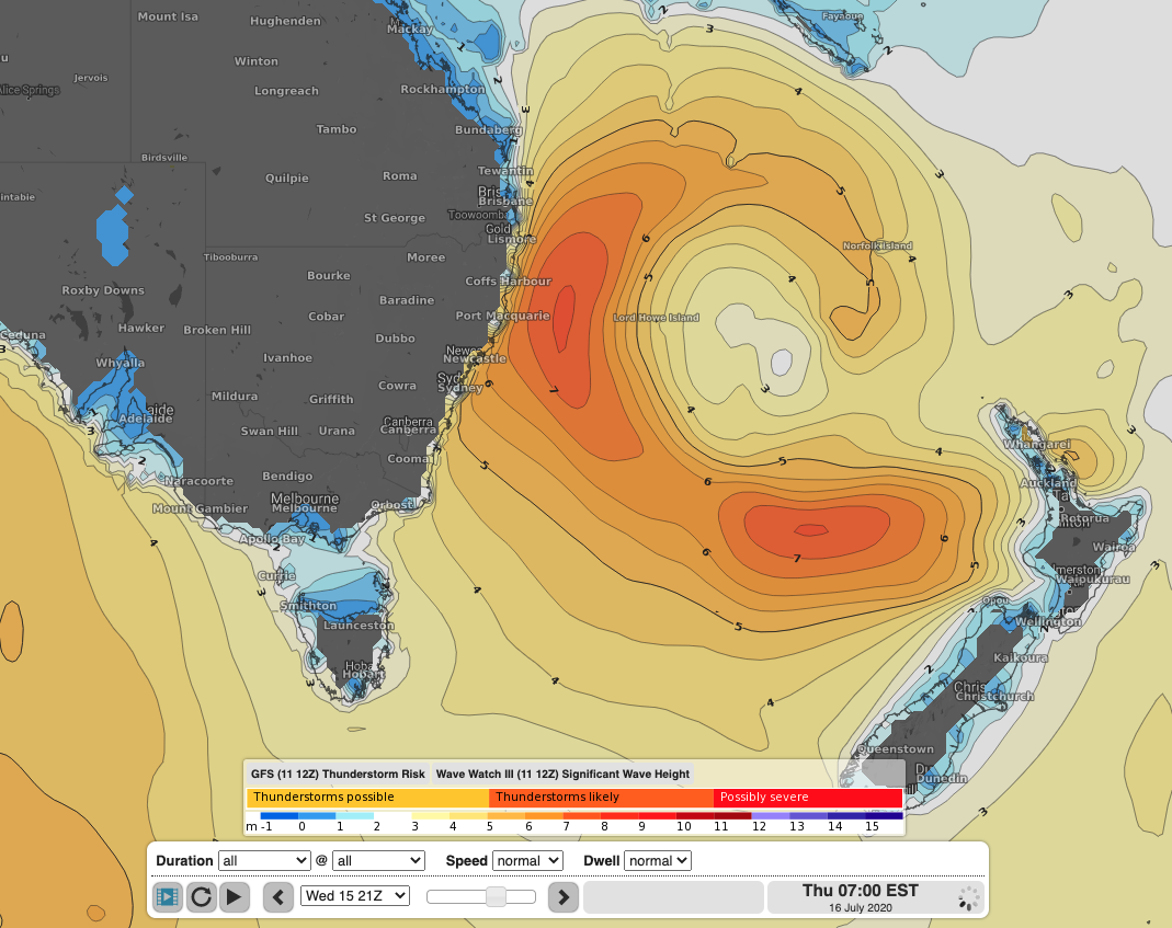 WaveWatch III model of significant wave height showing the large swell generated by an extensive fetch of E/SE winds between New Zealand and Australia. This swell will be smaller in size when it reaches our coast, but should provide more manageable surf for experienced boardriders