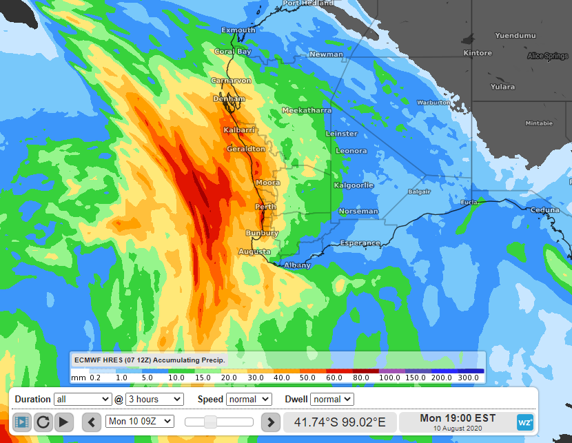 Rainfall forecast to accumulate by 5pm AWST on Monday, according to the ECMWF Friday 12z run.