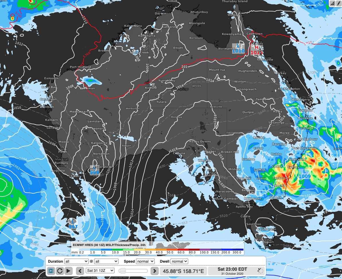 Figure : ECMWF-HRES model run showing rainfall totals in the 24 hours to tonight across the country.